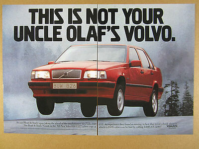 1993 Volvo 850 GLT 'not your uncle olaf's volvo' red car photo vintage print Ad