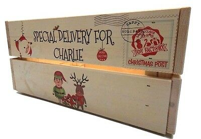Personalised Christmas Eve Wooden Gift Treat  Box / Crate - Santa