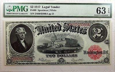 1917 $2 Legal Tender Choice Uncirculated 63 EPQ PMG Fr#60 Exceptional!
