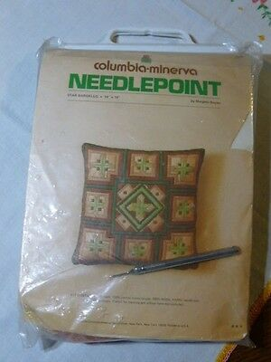 VINTAGE  Columbia Minerva Needlepoint Pillow Kit 1974 STAR BARGELLO