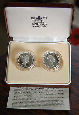 1989 Great Britain Silver Piedfort Proof £2 Pound Two Coin Set