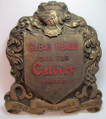 Old Calvert Whiskies Bar Liquor Store Display Sign high relief ornate Chaspec NY