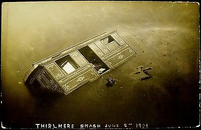 Thirlmere Smash June 2nd 1908, Lake District. Unposted Real Photo Postcard.