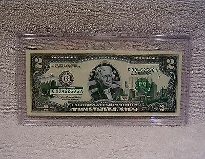 Oregon $2 Two Dollar Bill - Colorized State Landmark - Uncirculated Authentic