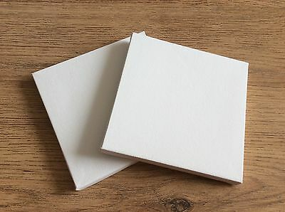 "Blank Stretched White Canvas Pack Of 2, 15cm Or 6"" Square Craft Art Artists"