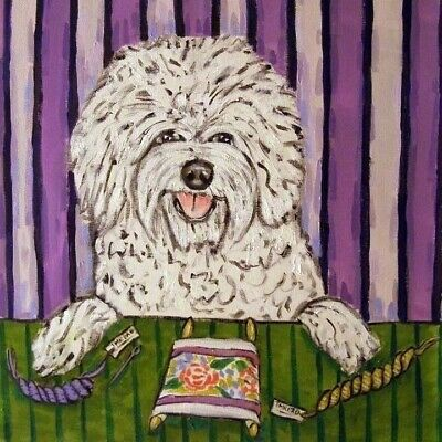 Bichon frise doingneedlepoint dog art tile coaster gift