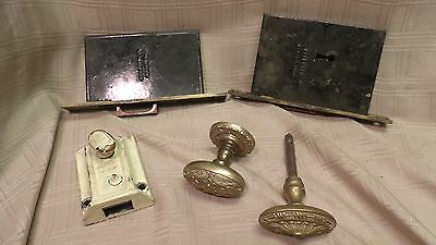 Lot of Vintage Door Hardware forged iron cabinet Hinges Lock Sets Door Knob Etc.
