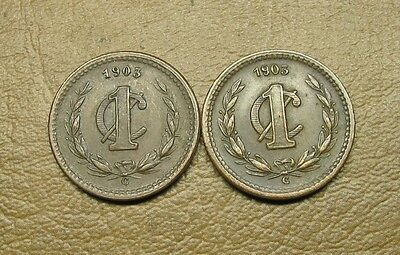 A Pair Of Low Mintage 1903-C  Mexican 1 Centavo Coins In F And Vf Condition