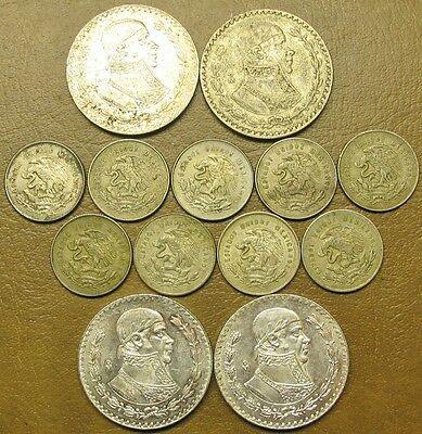 Thirteen (13) Mexico Silver Coins, 9  Of 25 Cents And 4 Of Un Peso, 1950'-1967