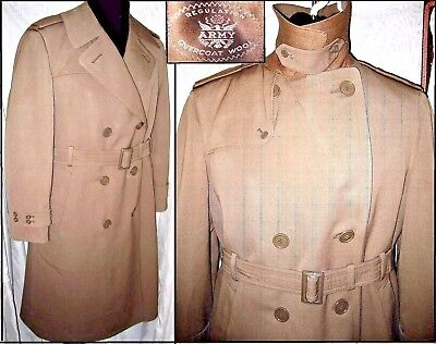 Vtg WWII Korea '53 U.S.Army Officers Taupe Wool Dress Overcoat Size 40R Mint EUC