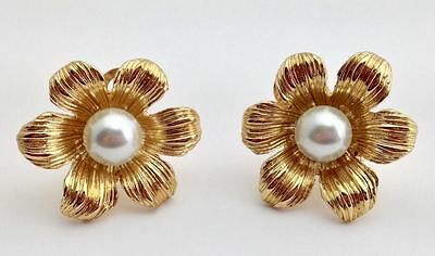 Vintage Goldtone Flower Clip-On Earrings with Faux Pearl Centers