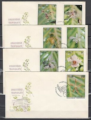 """ Caribbean, Scott cat. 1780-1786. Orchids issue on 4 First Day Covers."