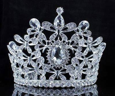 Butterfly Clear Austrian Crystal Rhinestone Tiara With Hair Combs Crown T2309