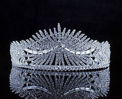 Sunlight Clear Austrian Crystal Rhinestone Tiara Hair Combs Crown Bridal T2311