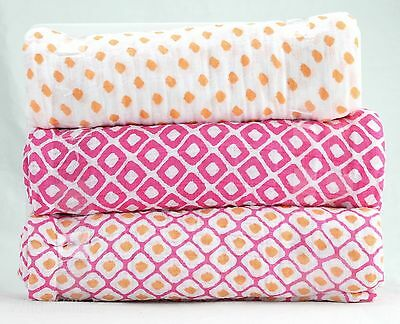 "Hudson Baby 3 Piece Muslin Swaddle Blankets, Pink Ikat, 46"" x 46"""