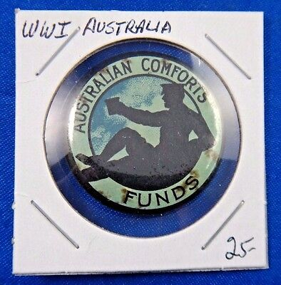 Original Vintage WWI WW1 Australia Australian Comforts Funds Pin Pinback Button
