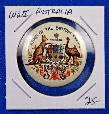 Original Vintage WWI WW1 Australia Arms of The British Empire Pin Pinback Button