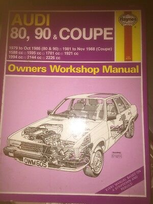 HAYNES Workshop Manual 605 Audi 80 90 And Coupe