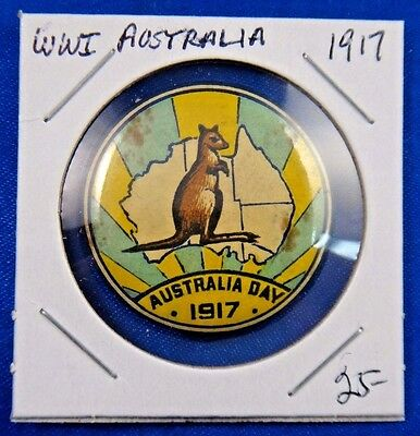 Original Vintage WWI WW1 1917 Australia Day Pin Pinback Button