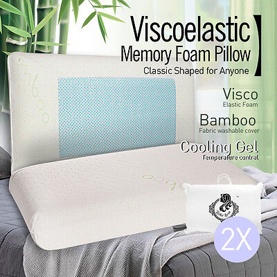 2 X Viscoelastic Memory Foam Pillow Cool Gel Top with Bamboo Fabric Fibre Cover
