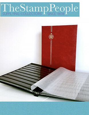 NEW* LARGE A4 Red Compass Stamp Album StockBook (32 Pages/64 sides BLACK PAGES)