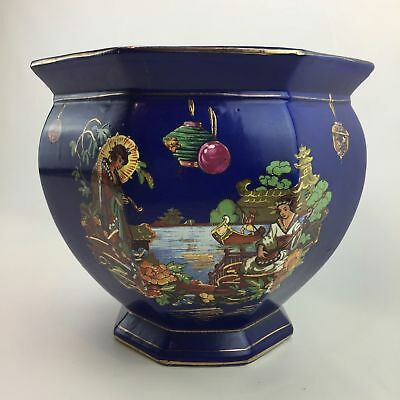 Vintage Chelsea House Asian Chinoise CachePot Jardiniere Blue Hand Painted