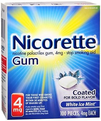 Nicorette Gum 4 Mg - White Ice Mint Coated For Bold Flavor - 100 Pcs.- Exp.06/18