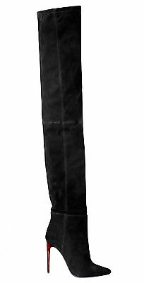 BNWT BALMAIN x H&M Black Over The Knee Thigh-High Suede Patterned Heels Boots