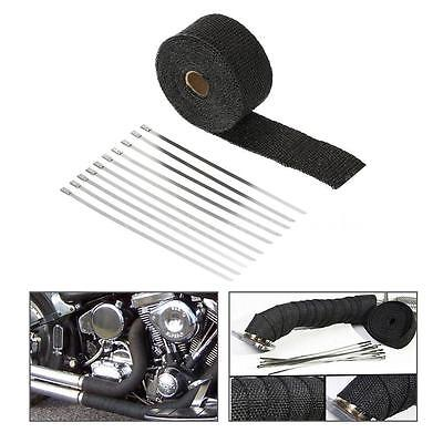 Black 5CM*15M Exhaust/Header Heat Wrap w/Stainless Cable Ties