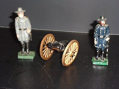 Two Cast Iron Cival War Soldiers With A Canon