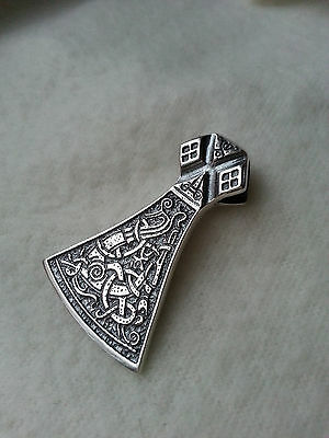 Solid Silver Sterling 925 AXE replica VIKING PENDANT DOUBLE SIDED  Ethnic