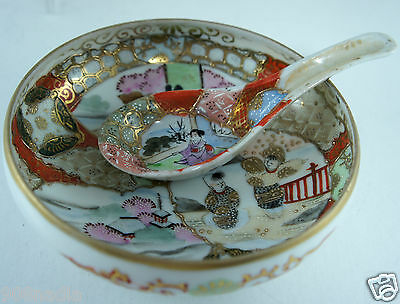 Antique Satsuma Japan Hand Painted Footed Small Bowl/dish W/spoon Signed