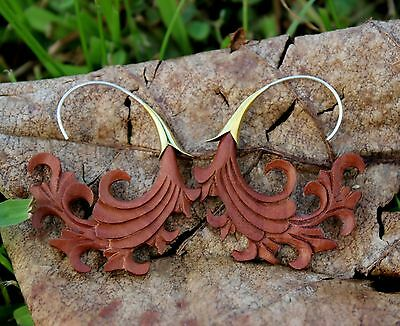 Earrings Organic Sliver wire earrings  Wood  Brown Tribal Expander