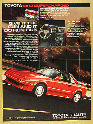 1988 Toyota MR2 Supercharged red car & interior photos vintage print Ad