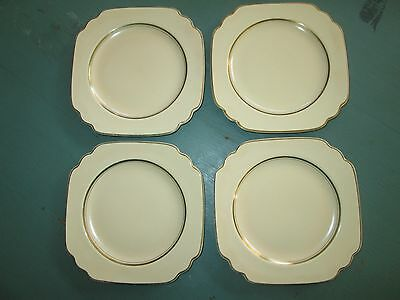 "VTG Set of 4 Homer Laughlin WELLS PEACOCK 6.25"" Square Plates Ivory w/ Gold Trim"