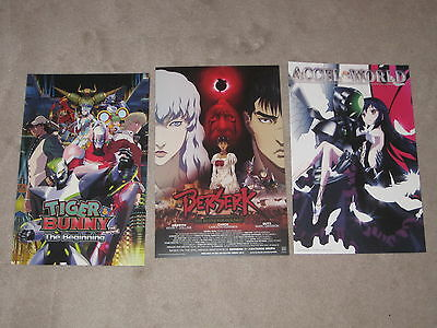 SDCC 2012 Comic Con Poster Lot Tiger & Bunny, Berserk, Accel World Anime 2016
