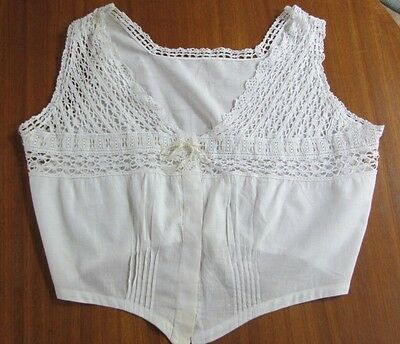 Antique Victorian Early 1900's Hand Crocheted, Linen Corset Cover, Camisole