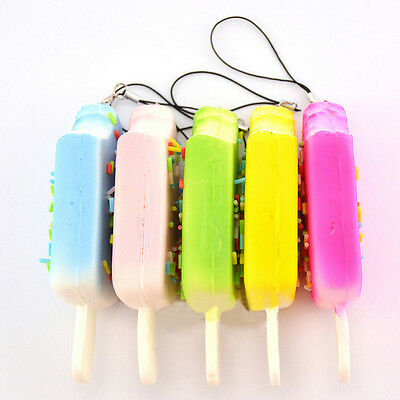 Squishy Sprinkles Popsicle Phone Straps Soft Bread Scented Key Chains Gifts FT