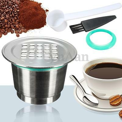 Stainless Steel Coffee Capsule Pod Reusable Refillable Lid + Spoon For Nespresso