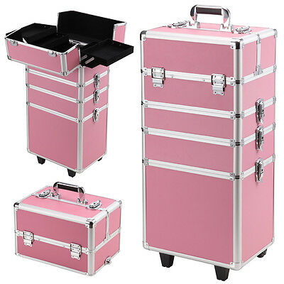NEW 7 in 1 Cosmetics Case Make Up Trolley Portable Organiser Beauty Pink AU