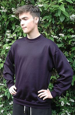 Plain Navy Sweatshirt Childrens Boys Girls Sizes Poly Cotton MADE IN THE UK