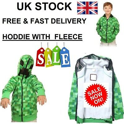 "UK STOCK Kids Minecraft "" FLEECE ""Creeper Boys Hoodie Zip-Up Coat Sweater Jacket"