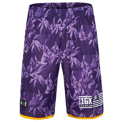 adidas NBA 16X Champions Los Angeles Lakers Basketball Fanwear Shorts - Purple