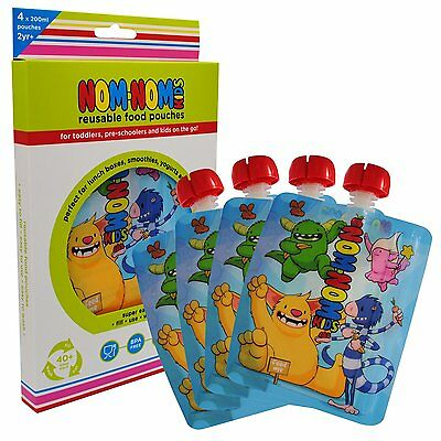 Nom Nom Kids Reusable / refillable Food Pouch 4 x 200ml MONSTER