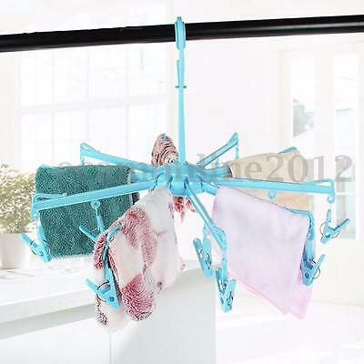 Foldable Clothes Dryer Hanger 20 Peg Clip Home Laundry Sock Hanging Airer Stand