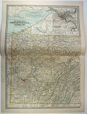 Original 1902 Map of Western Pennsylvania by The Matthews-Northrup Company