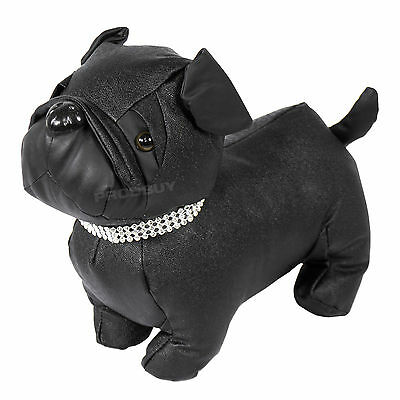 Novelty Black Faux Leather Fabric Bulldog Dog Door Stop Weighted Stopper Animal