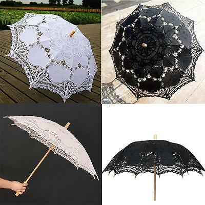 New Lace Embroidered Sun Parasol Umbrella For Bridal Wedding Party Decoration