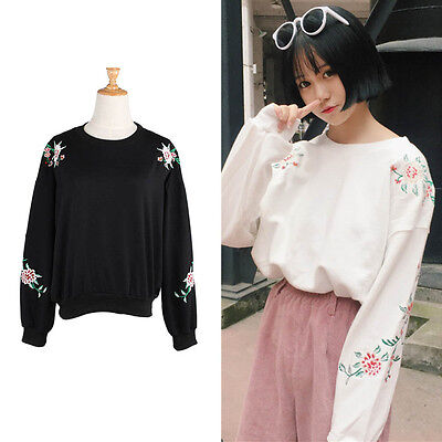 Women Flower Embroidery Pullover T Shirt Autumn Casual Long Sleeve Tops Loose