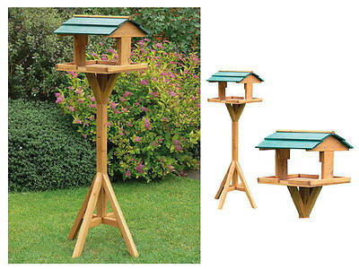 Deluxe Bird Table Feeding Station Wooden Feeder Garden Wood House / BEST QUALITY
